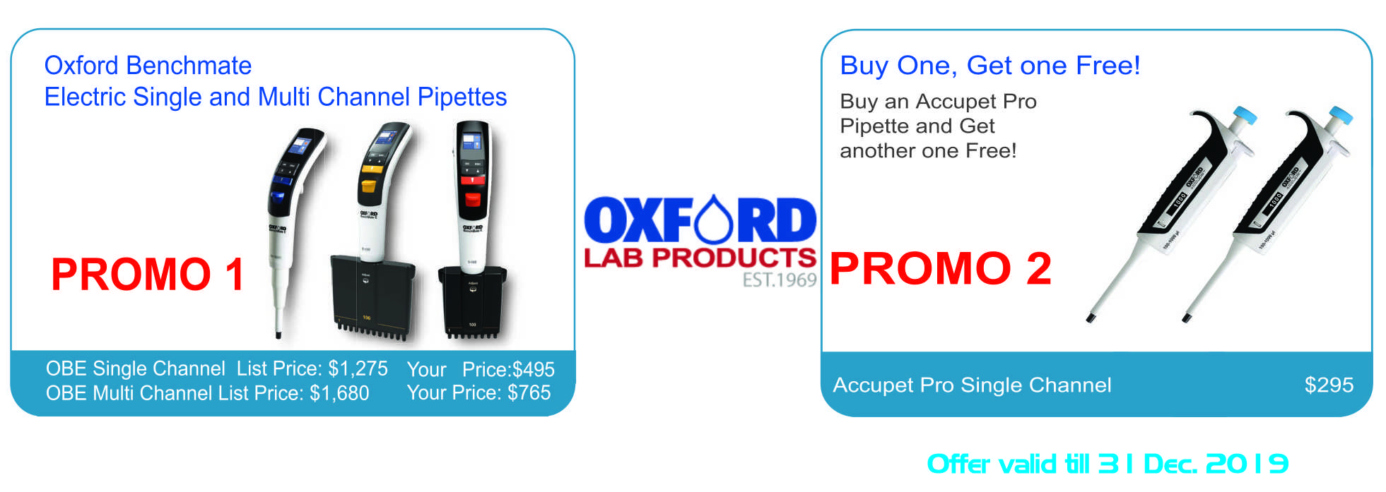 Oxford Benchmate Electric Single and Multi Channel Pipettes